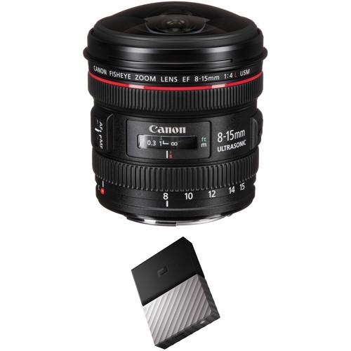 Canon EF 8-15mm f/4L Fisheye USM Lens with External Hard Drive Kit