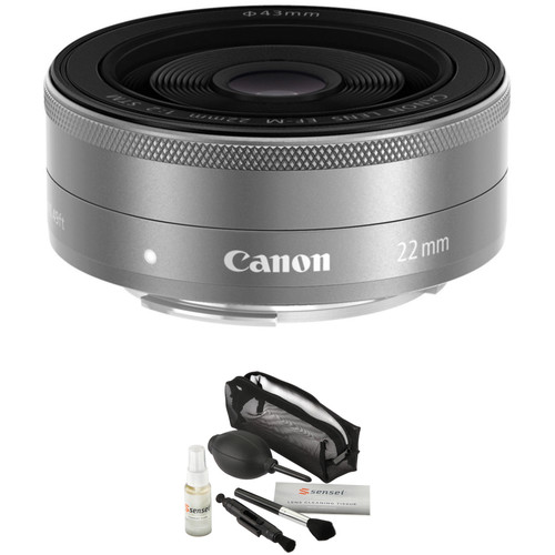 Canon EF-M 22mm f/2 STM Lens with UV Filter Kit (Silver)