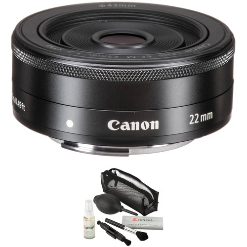 Canon EF-M 22mm f/2 STM Lens with UV Filter Kit (Black)