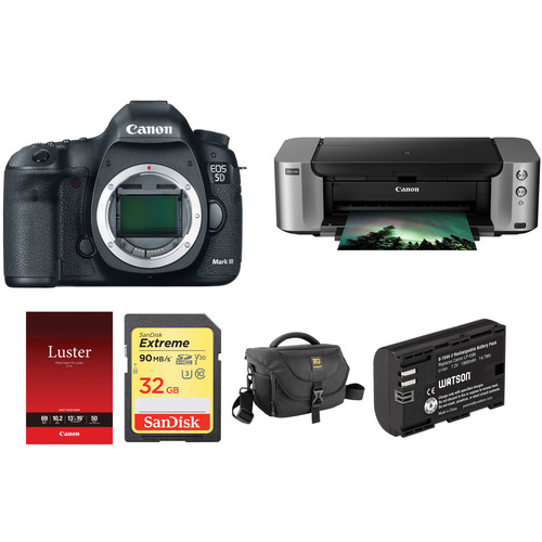 Canon EOS 5D Mark III DSLR Camera and PIXMA PRO-100 Printer Kit