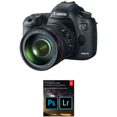 Canon EOS 5D Mark III DSLR Camera with 24-105mm Lens and Adobe Creative Cloud Photography Plan Kit