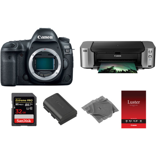 Canon EOS 5D Mark IV DSLR Camera Body with Inkjet Printer Kit