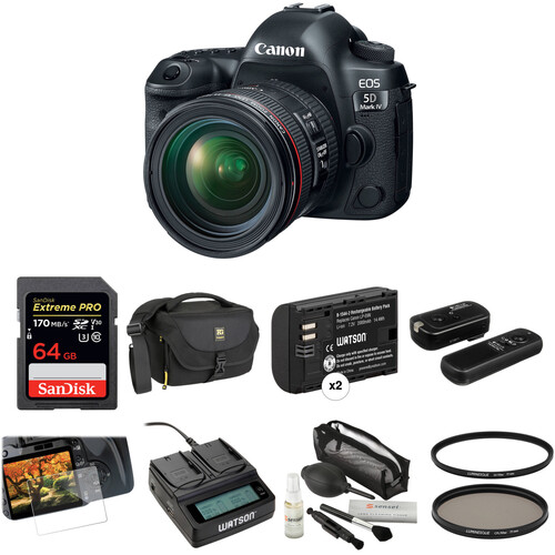Canon EOS 5D Mark IV DSLR Camera with 24-70mm f/4L Lens Deluxe Kit