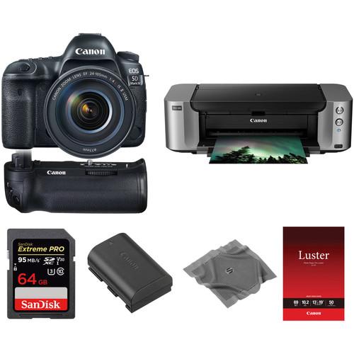 Canon EOS 5D Mark IV DSLR Camera with 24-105mm Lens and Inkjet Printer Kit