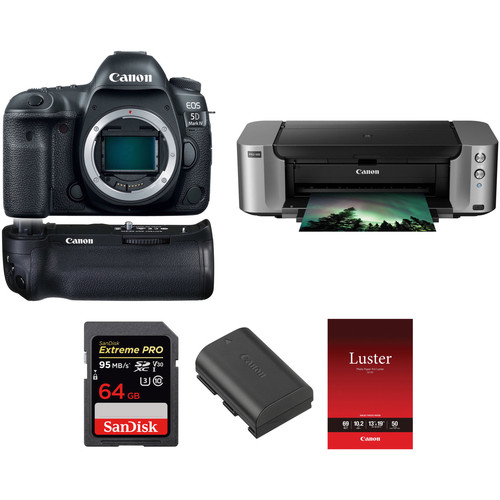 Canon EOS 5D Mark IV DSLR Camera Body with Canon Log and Printer Kit
