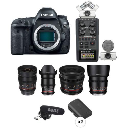 Canon EOS 5D Mark IV DSLR Camera with Rokinon Cine Lenses Bundle