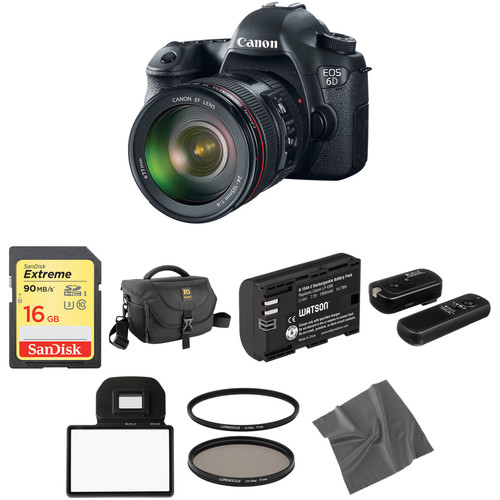 Canon EOS 6D DSLR Camera with 24-105mm f/4L Lens Basic Kit
