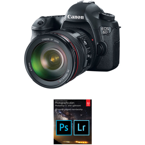 Canon EOS 6D DSLR Camera with 24-105mm f/4L Lens and Adobe Creative Cloud Photography Plan Kit