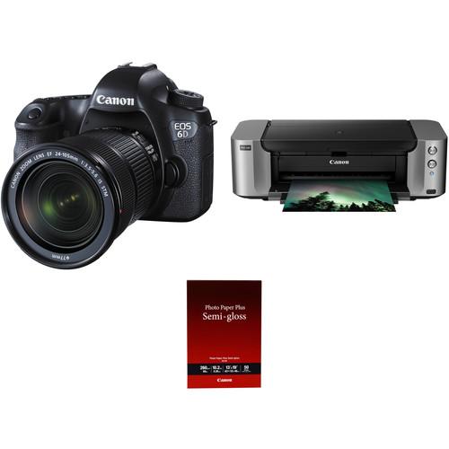 Canon EOS 6D DSLR Camera with 24-105mm f/3.5-5.6 STM Lens and Inkjet Printer Kit