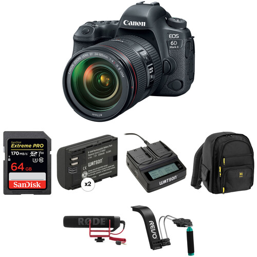 Canon EOS 6D Mark II DSLR Camera with 24-105mm f/4 Lens Video Kit
