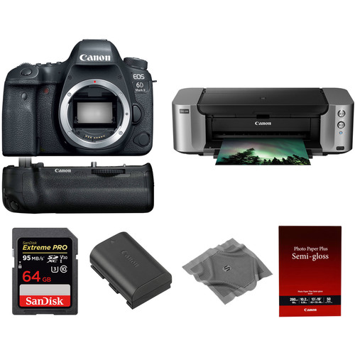 Canon EOS 6D Mark II DSLR Camera with PIXMA PRO-100 Printer Kit