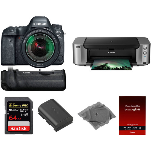 Canon EOS 6D Mark II DSLR Camera with 24-105mm f/3.5-5.6 Lens and PIXMA PRO-100 Printer Kit