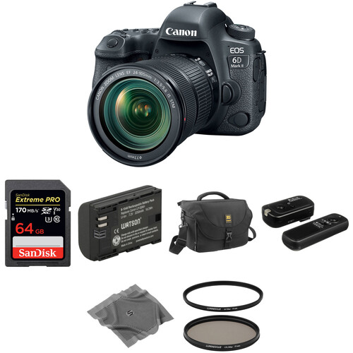 Canon EOS 6D Mark II DSLR Camera with 24-105mm f/3.5-5.6 Lens Basic Kit