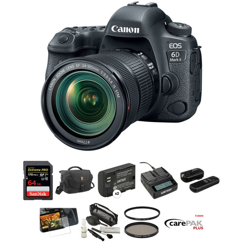 Canon EOS 6D Mark II DSLR Camera with 24-105mm f/3.5-5.6 Lens Deluxe Kit