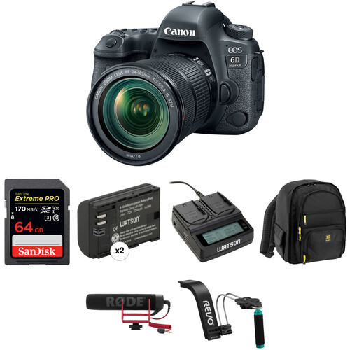 Canon EOS 6D Mark II DSLR Camera with 24-105mm f/3.5-5.6 Lens Video Kit