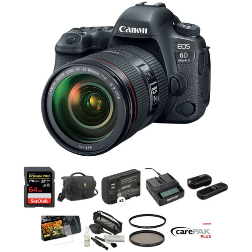 Canon EOS 6D Mark II DSLR Camera with 24-105mm f/4 Lens Deluxe Kit