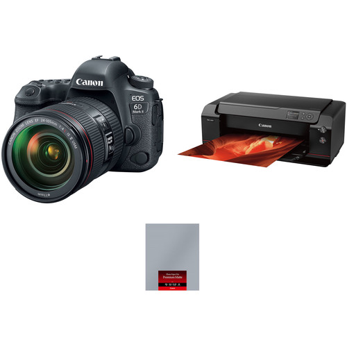 Canon EOS 6D Mark II with 24-105mm Lens and Inkjet Printer Kit