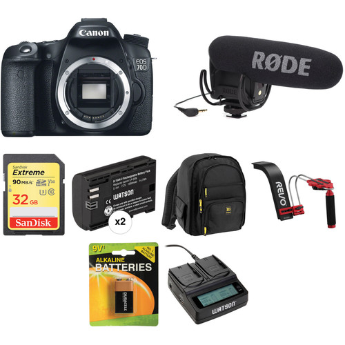 Canon EOS 70D DSLR Camera Body Video Kit