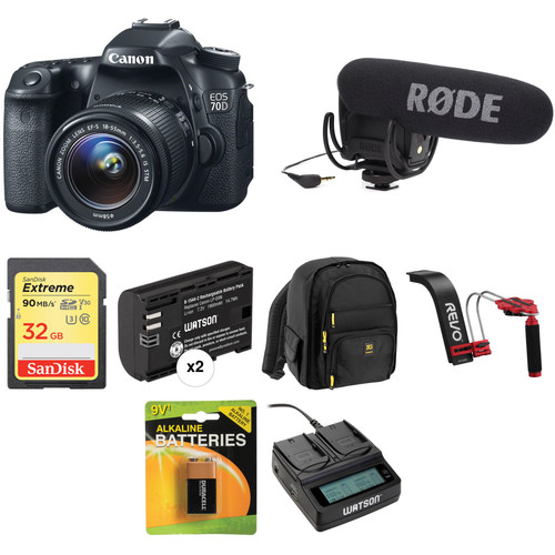 Canon EOS 70D DSLR Camera with 18-55mm Lens Video Kit