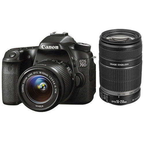 Canon EOS 70D DSLR Camera Kit with 18-55mm and 55-250mm Lenses