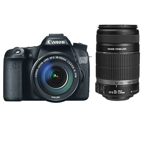 Canon EOS 70D DSLR Camera with 18-135mm and 55-250mm Lenses