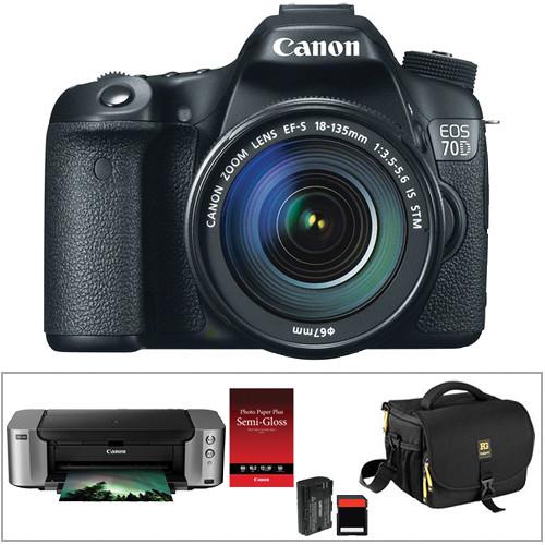 Canon EOS 70D DSLR Camera Kit with 18-135mm STM Lens & PIXMA PRO-100 Inkjet Printer