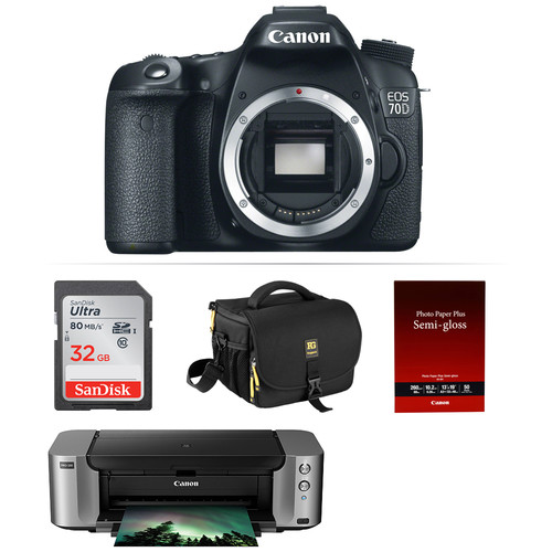 Canon EOS 70D DSLR Camera with PIXMA PRO-100 Printer Kit