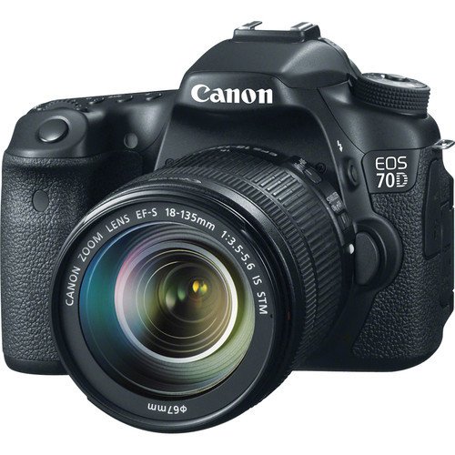 Canon EOS 70D DSLR Camera with 18-135mm Lens and Inkjet Printer Kit