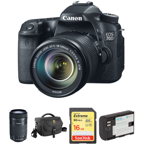 Canon EOS 70D DSLR Camera with 18-135mm and 55-250mm Lenses Kit
