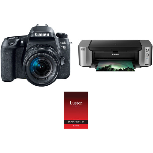 Canon EOS 77D DSLR Camera with 18-55mm Lens and Inkjet Printer Kit
