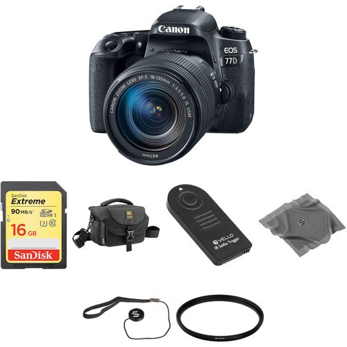 Canon EOS 77D DSLR Camera with 18-135mm Lens Basic Kit
