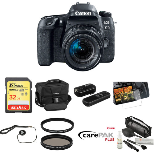 Canon EOS 77D DSLR Camera with 18-55mm Lens Deluxe Kit
