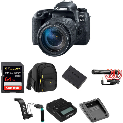 Canon EOS 77D DSLR Camera with 18-135mm Lens Video Kit