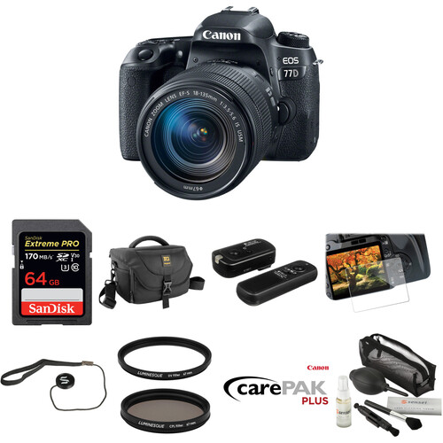 Canon EOS 77D DSLR Camera with 18-135mm Lens Deluxe Kit