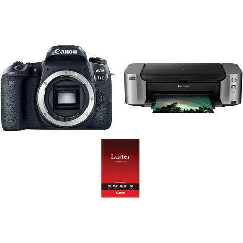 Canon EOS 77D DSLR Camera Body with Inkjet Printer Kit