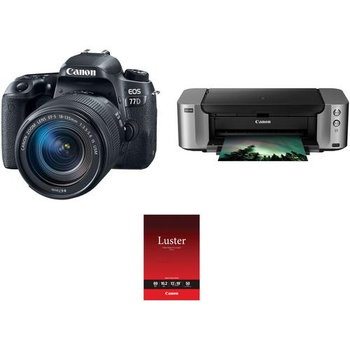 Canon EOS 77D DSLR Camera with 18-135mm USM Lens and Inkjet Printer Kit