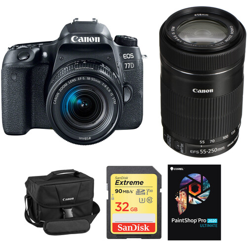 Canon EOS 77D DSLR Camera with 18-55mm and 55-250mm Lenses Kit