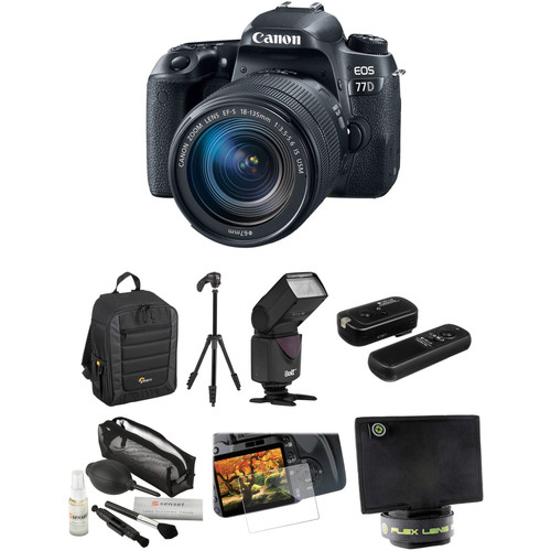 Canon EOS 77D DSLR Camera with 18-135mm USM Lens and Accessories Kit