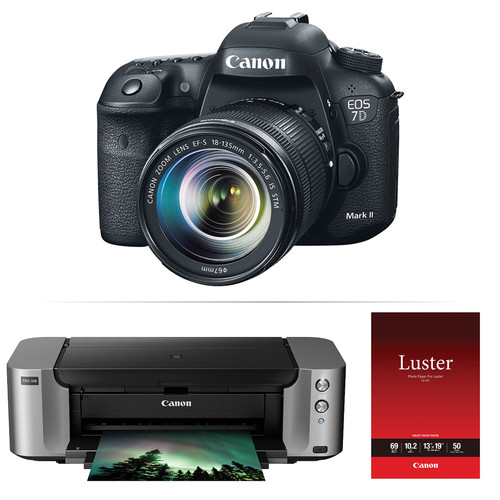 Canon EOS 7D Mark II DSLR Camera with 18-135mm Lens and PIXMA PRO-100 Printer Kit