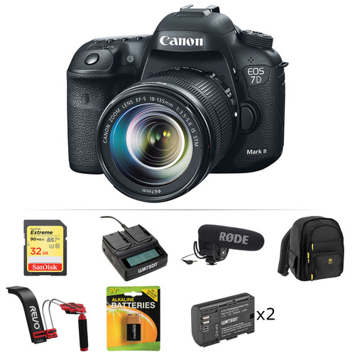 Canon EOS 7D Mark II DSLR Camera with 18-135mm Lens and Shotgun Microphone Kit