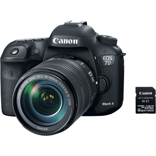 Canon EOS 7D Mark II DSLR Camera and 18-135mm f/3.5-5.6 USM Lens & W-E1 Wi-Fi Adapter with Stabilizer Kit