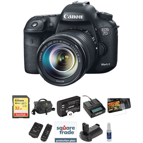 Canon EOS 7D Mark II DSLR Camera with 18-135mm Lens and Deluxe Photo Kit