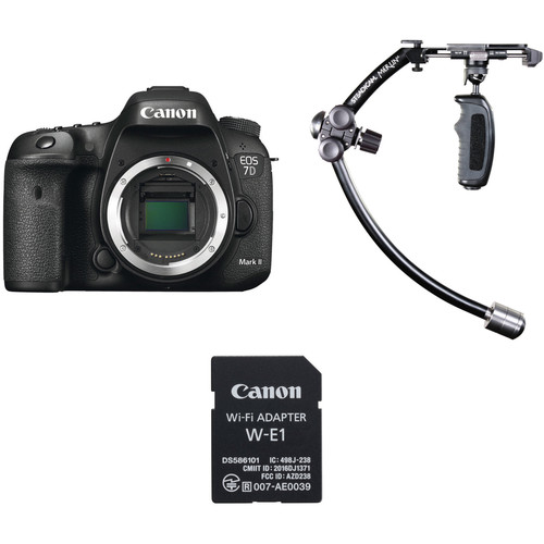 Canon EOS 7D Mark II DSLR Camera Body and W-E1 Wi-Fi Adapter with Stabilizer Kit