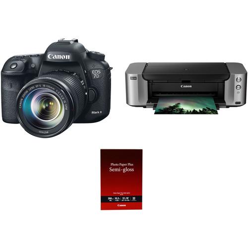 Canon EOS 7D Mark II DSLR Camera with 18-135mm STM Lens and Inkjet Printer Kit
