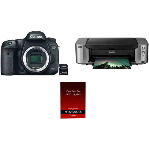 Canon EOS 7D Mark II DSLR Camera with W-E1 Wi-Fi Adapter and PIXMA PRO-100 Printer Kit