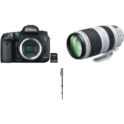 Canon EOS 7D Mark II DSLR Camera with W-E1 Wi-Fi Adapter and 100-400mm Lens Sports Kit