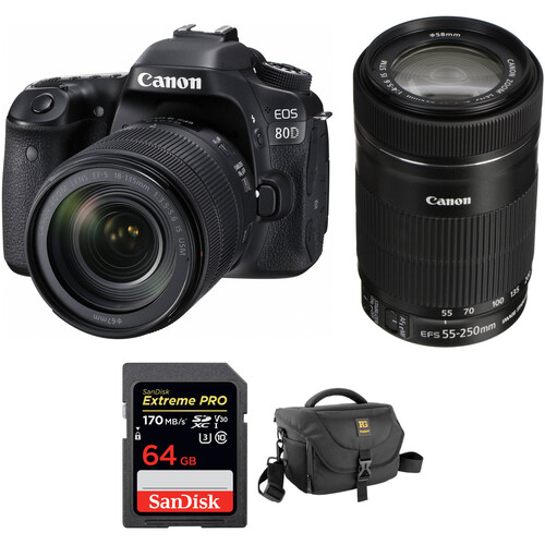 Canon EOS 80D DSLR Camera with 18-135mm and 55-250mm Lenses Kit