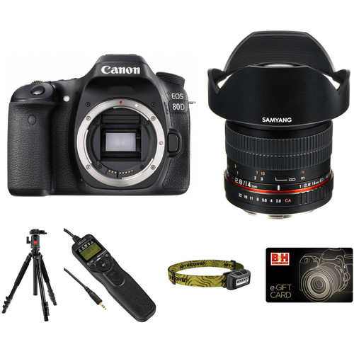 Canon EOS 80D DSLR Camera with 14mm f/2.8 Lens Astrophotography Kit