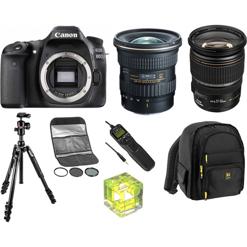 Canon EOS 80D DSLR Camera with 11-20mm f/2.8 and 17-55mm f/2.8 Lenses Landscape Kit