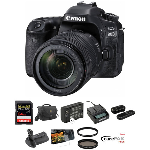 Canon EOS 80D DSLR Camera with 18-135mm Lens Deluxe Kit